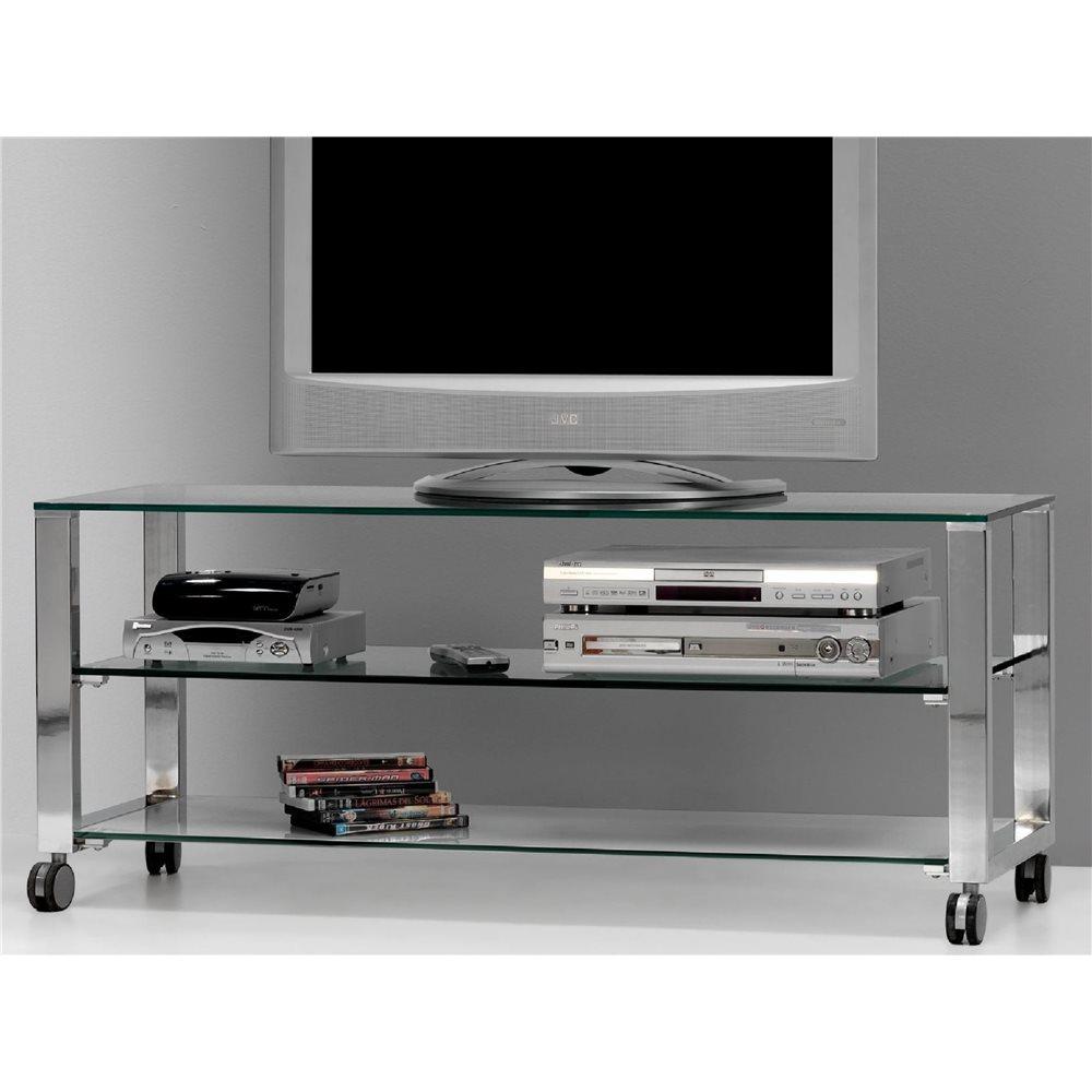 Crystal TV table with chromed legs Aremi 125 cm