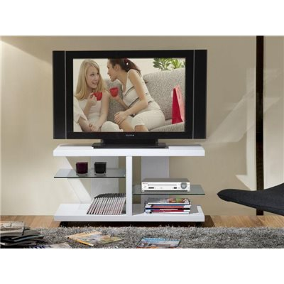 Taula de Televisió blanca i cristall transparent Anka 100 cm