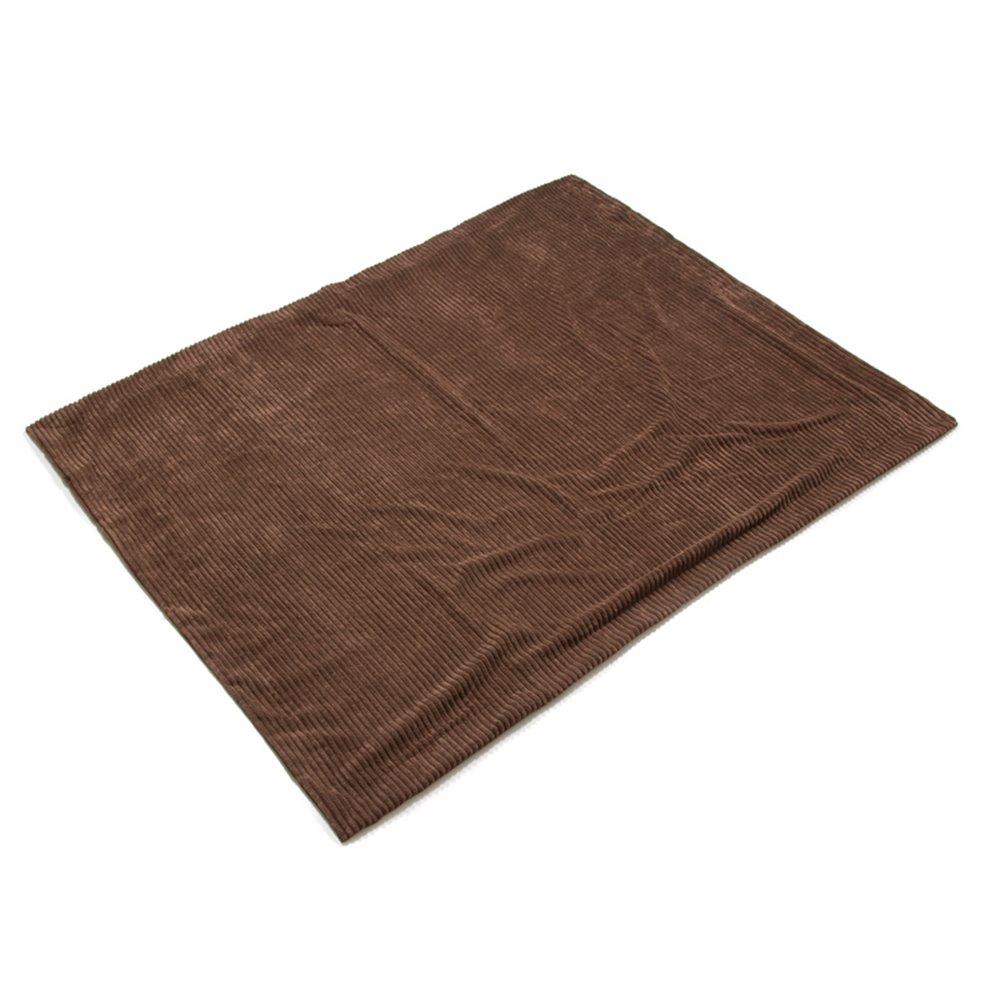 Couverture en laine polaire velours côtelé, marron
