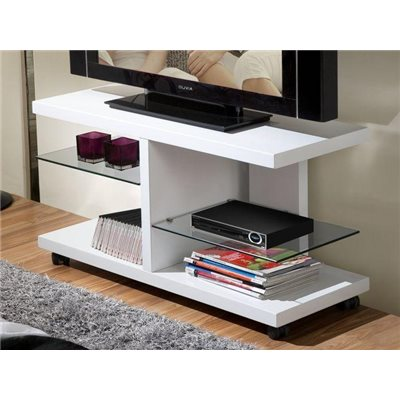 White and transparent TV table Anka 100 cm