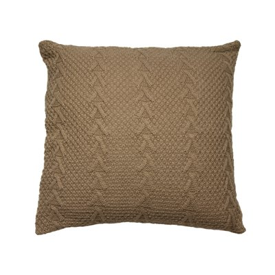 Brown knitted cushion