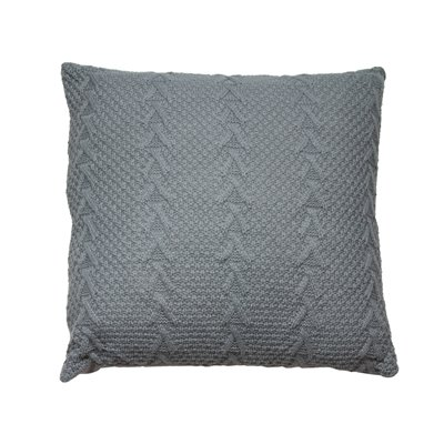 Grey knitted cushion