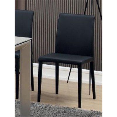 Sedia nera in acciaio e pelle sintetica Kora