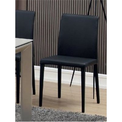 Steel and synthetic leather black chair Kora