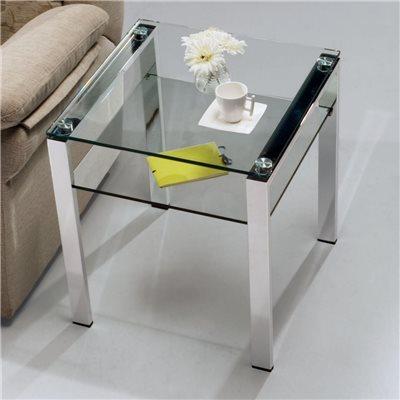 Table d'appoint en verre avec pieds chromés Aremi 55 cm