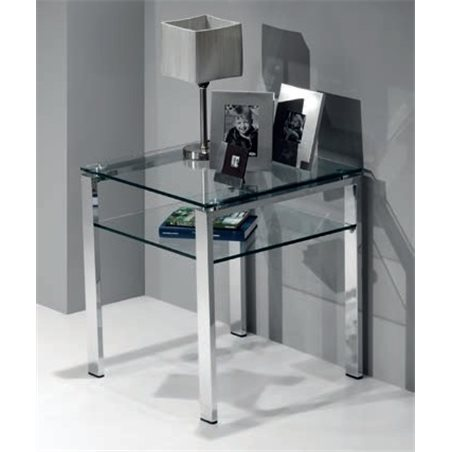 Glass side table with chrome legs Aremi 55 cm
