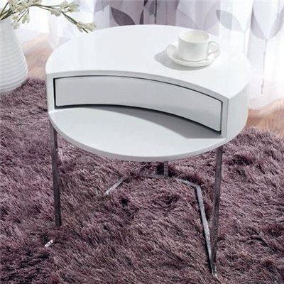 Mesa auxiliar redonda branca con caixón rotatorio Twist 50 cm