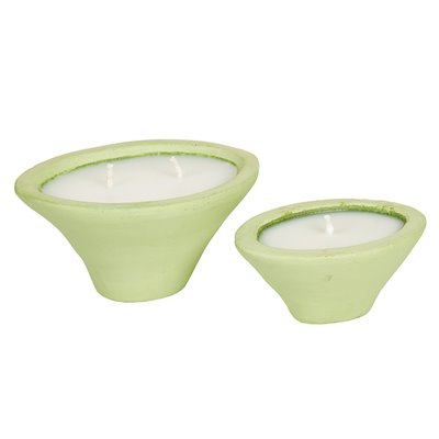 Set 2 moss candle holders