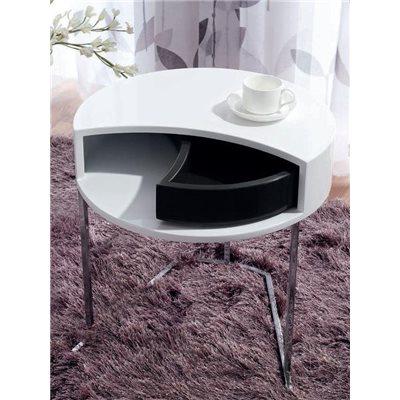Mesa auxiliar redonda branca con caixón rotatorio negro Twist 50 cm
