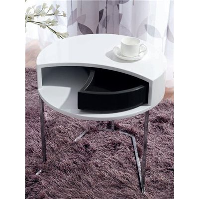 Tavola rotonda ausiliario bianca con cassetto nero Twist 50 cm