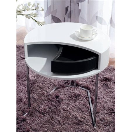 White auxiliar round table with black twist drawer 50 cm