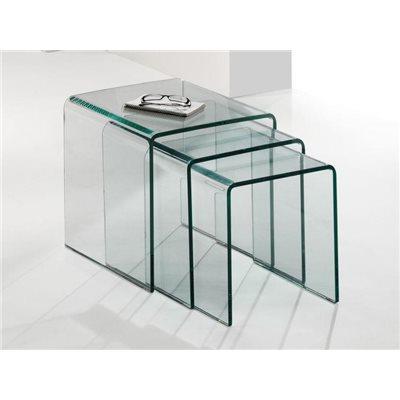 Conjunto de 3 mesas de ninho de vidro curvo