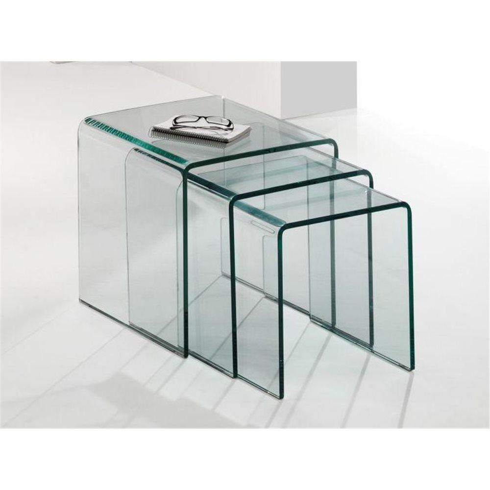 Set di 3 tavolini nido vetro curvato