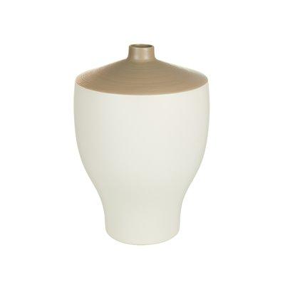 Jarrón cerámica blanco y gris