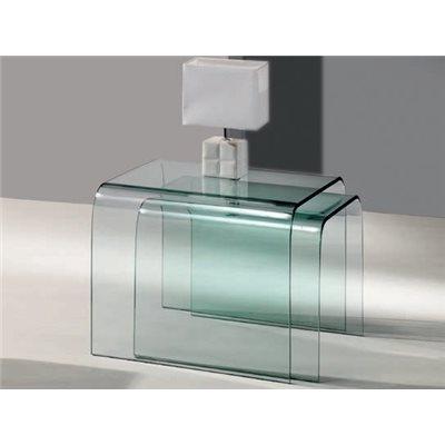 Set aus 2 gebogenen Glasnesttischen