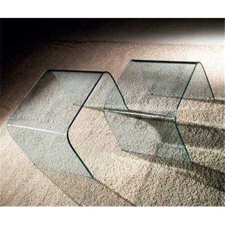 Set de 2 taules niu de cristall corbat