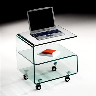 Curved glass side table with wheels 50 cm