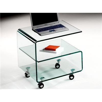 Mesa auxiliar de cristal curvado con ruedas 50 cm