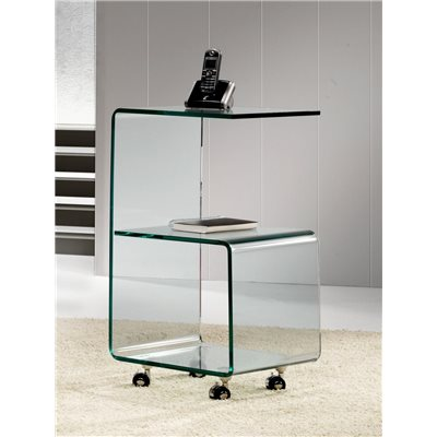 Mesa auxiliar de cristal curvado con rodas 40 cm