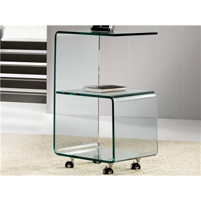 Curved glass side table with wheels 40 cm