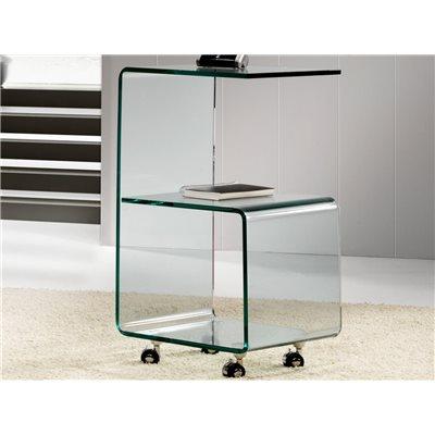 Tavolo laterale vetro curvo con ruote 40 cm