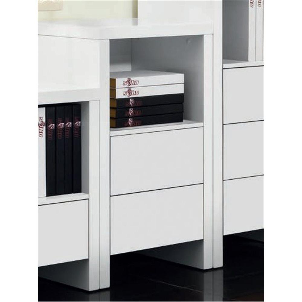Mueble auxiliar con dos cajones blanco satinado Melba M