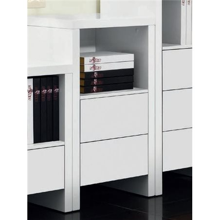 Auxiliar cupboard with two drawers white satin Melba M