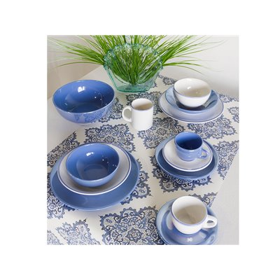 Set of 6 mugs with edged blue clear