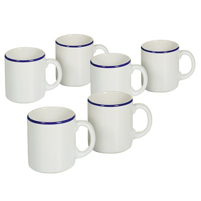 Set of 6 mugs with dark blue edge