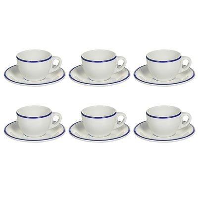 Juego de 6 tazas té con plato de filo azul marino