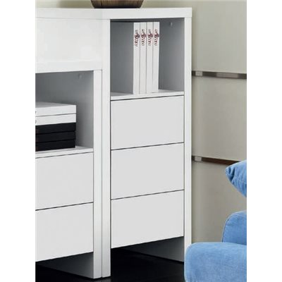 Auxiliar cupboard with three drawers white satin Melba A