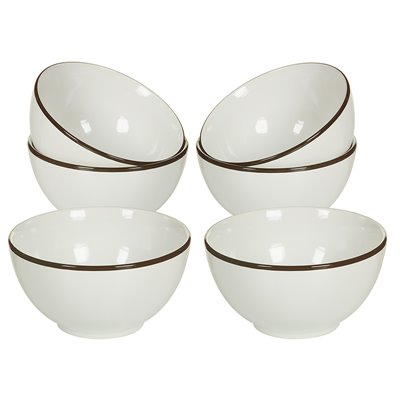 Set of 6 bowls with Brown edge
