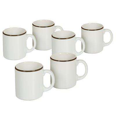 Set of 6 mugs with edge Brown