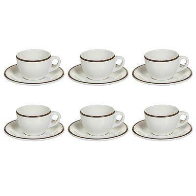 Juego de 6 tazas té con plato de filo marrón