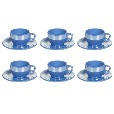Juego de 6 tazas té con plato de Lustre azul