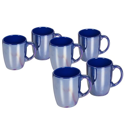 Set of 6 mugs with dark blue gloss
