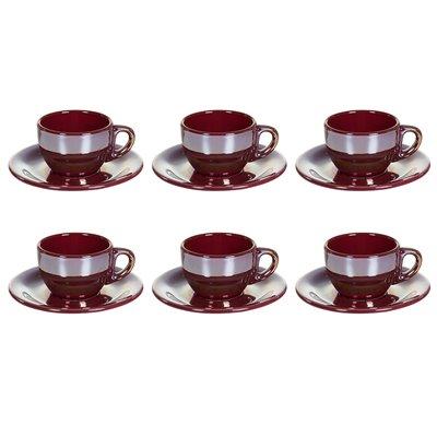 Satz von 6 Tassen Tee mit Schüssel Glanz Bordeaux