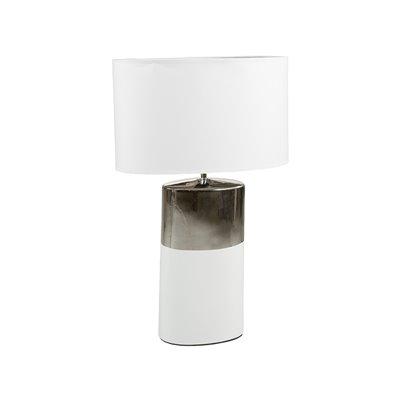 Lámpara plata y blanca cerámica