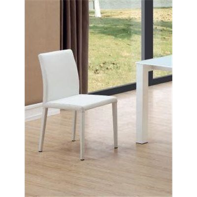 Steel and synthetic leather white chair Kora