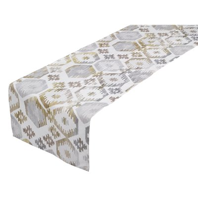 Etnic Hexagon gray table runner