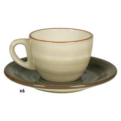 Satz von 6 Tassen Kaffee Tuscany grau