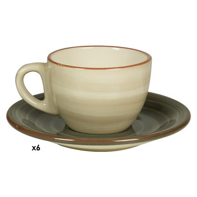 Set of 6 cups coffee Tuscany grey