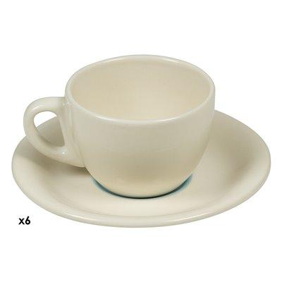 Satz von 6 Tassen Kaffee blaue Spirale