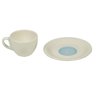 Set of 6 cups coffee blue spiral