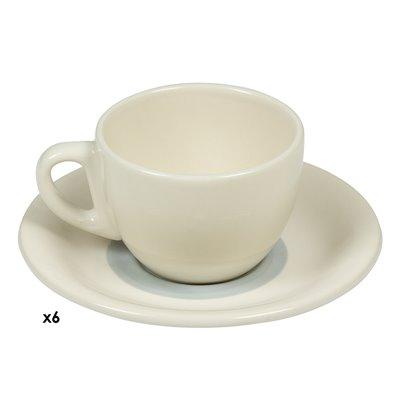 Satz von 6 Tassen Kaffee grauen Spirale