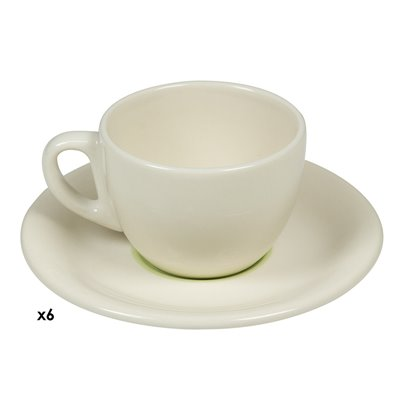 6 coffee cups set green Spiral