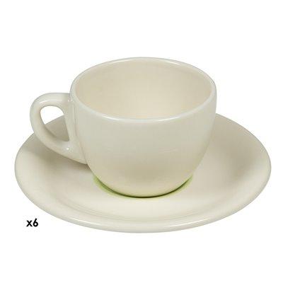 6 Tassen Kaffee grüne Spirale