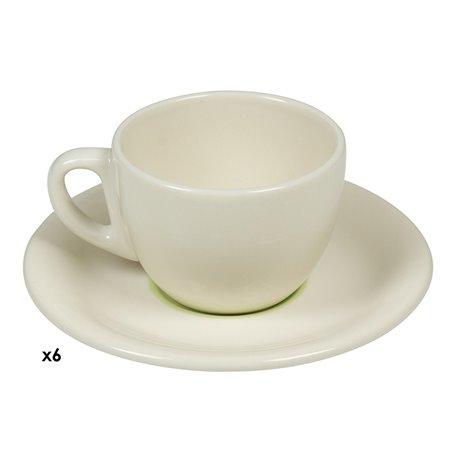 6 coffee cups set green Spiral