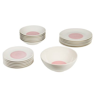 19 pieces Dishware Pink Spiral