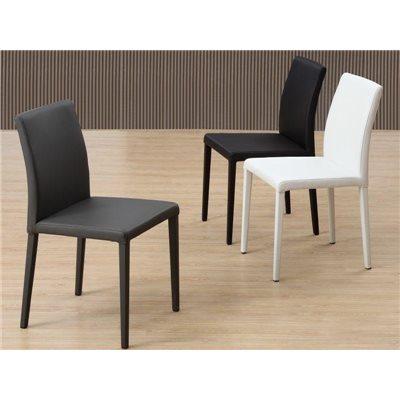 Cadira d'acer i pell sintètica Kora blanca